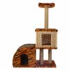 Домик- когтеточка для кошек Двухуровневый, джут 720х370х1100 Д 341